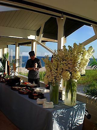 J&r snapdragons and freesia on sushi bar