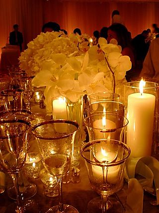 Jen wedding centerpiece with candle feature